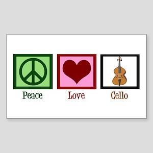 Peace Love Cello Sticker (Rectangle)