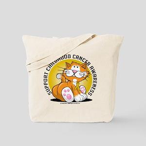 Childhood Cancer Cat Tote Bag