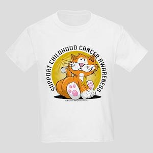 Childhood Cancer Cat Kids Light T-Shirt