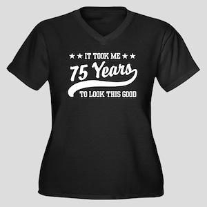 Funny 75th Birthday Women's Plus Size V-Neck Dark