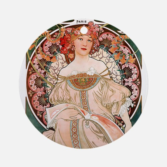 F. Champenois Imprimeur by Mucha Ornament (Round)