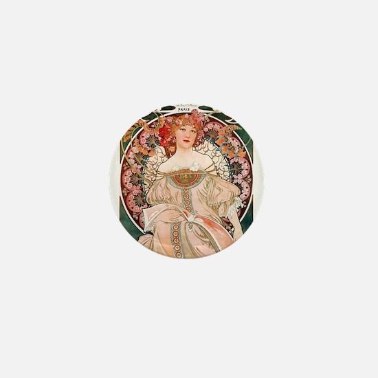 F. Champenois Imprimeur by Mucha Mini Button