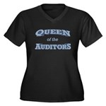 Queen Auditor Women's Plus Size V-Neck Dark T-Shir