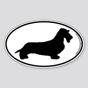 Wirehaired Dachshund SILHOUETTE Oval Sticker