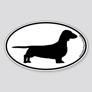 Smooth Dachshund SILHOUETTE Oval Sticker