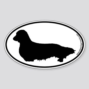 Longhaired Dachshund SILHOUETTE Oval Sticker