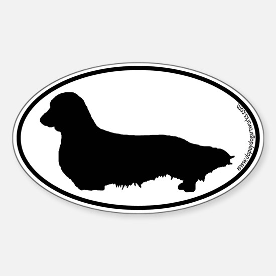 Longhaired Dachshund SILHOUETTE Oval Decal