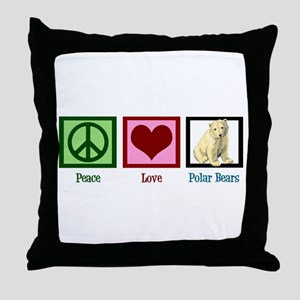 Peace Love Polar Bears Throw Pillow