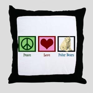 Peace Love Polar Bears Throw Pillow