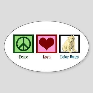 Peace Love Polar Bears Sticker (Oval)