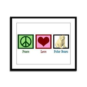 Peace Love Polar Bears Framed Panel Print