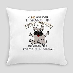 Morning Pug Hugs Everyday Pillow
