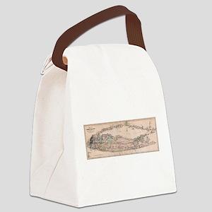 Vintage Long Island NY Railroad M Canvas Lunch Bag