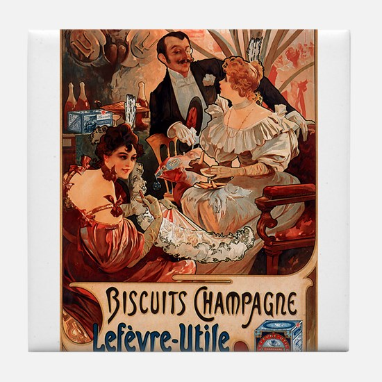 Biscuits Champagne Lefevre Utile by Mucha Tile Coa