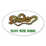 Plays With Snakes Oval Sticker