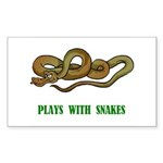 Plays With Snakes Rectangle Sticker