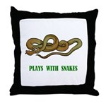 Plays With Snakes Throw Pillow