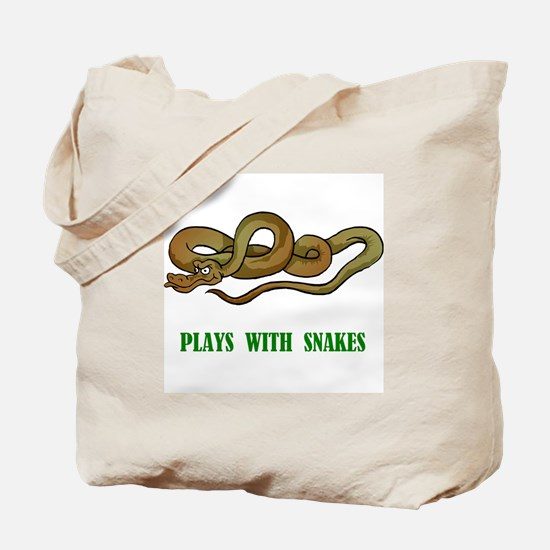 Plays With Snakes Tote Bag