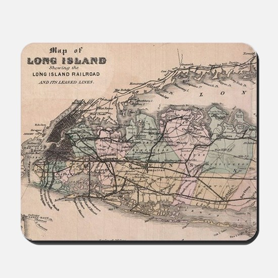 Vintage Long Island NY Railroad Map (188 Mousepad