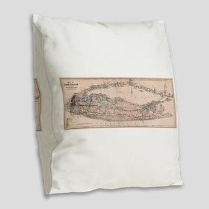 Vintage Long Island NY Railroa Burlap Throw Pillow