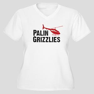 Palin Hunts Grizzlies Women's Plus Size V-Neck T-S