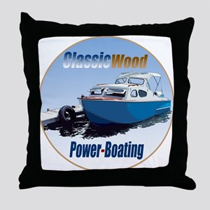 The Classic Wood Power-Boatin Throw Pillow