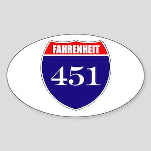 Fahrenheit Route 451 Sticker (Oval)