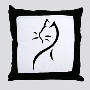 Tribal Cat Close Throw Pillow