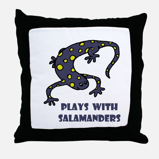 Plays With Salamanders Throw Pillow
