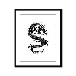 Tribal Dragon Old Framed Panel Print