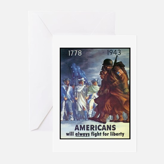 Fight for Liberty Poster Art Greeting Cards (Packa