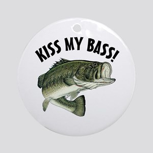 Kiss My Bass (round) Round Ornament