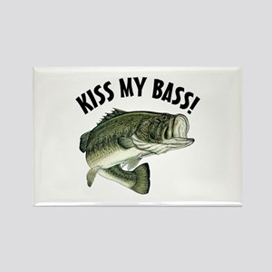 Kiss My Bass Rectangle Magnet Magnets