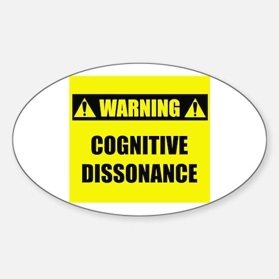 WARNING: Cognitive Dissonance Sticker (Oval)