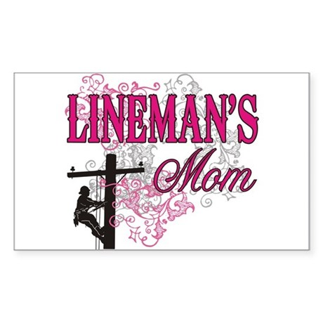 Lineman's Mom Sticker (Rectangle)
