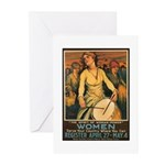 Women Power Poster Art Greeting Cards (Package of