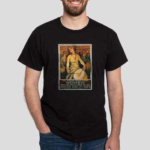 Women Power Poster Art (Front) Black T-Shirt