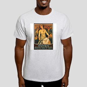 Women Power Poster Art (Front) Ash Grey T-Shirt