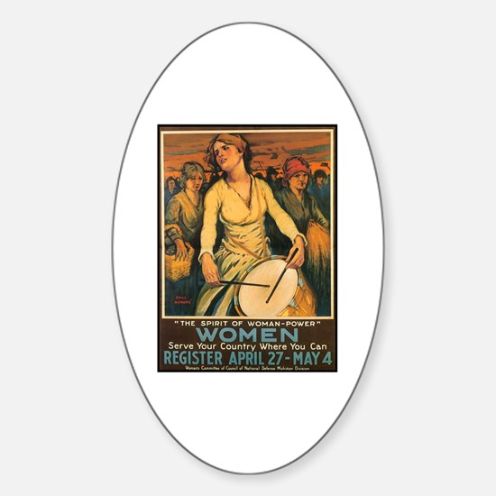 Women Power Poster Art Oval Decal