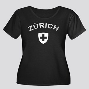 Zurich Women's Plus Size Scoop Neck Dark T-Shirt