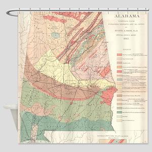 Vintage Agricultural Map of Alabama Shower Curtain