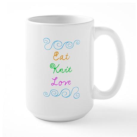 Eat Knit Love Large Mug