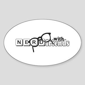 Nerd with Friends Sticker (Oval)