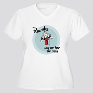 They can hear the smile! Women's Plus Size V-Neck