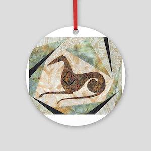 Tribal Greyhound Ornament (Round)