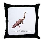 Plays With Salamanders Throw Pillow