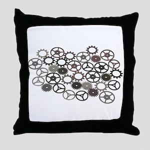 Retro Gears Throw Pillow
