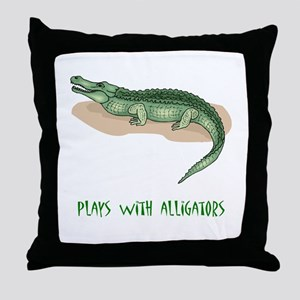 Plays With Alligators Throw Pillow