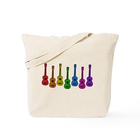 Ukulele Rainbow Tote Bag