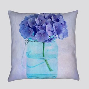 Vintage Hydrangea Blue Mason Jar Everyday Pillow